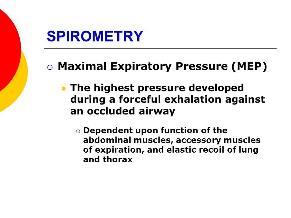 SPIROMETRY Maximal Expiratory Pressure (MEP)