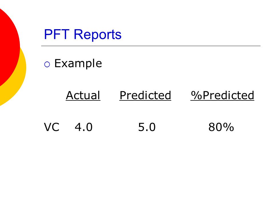 PFT Reports Example Actual Predicted %Predicted VC 4.0 5.0 80%