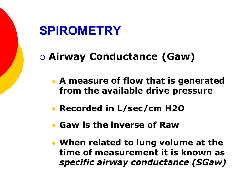 SPIROMETRY Airway Conductance (Gaw)