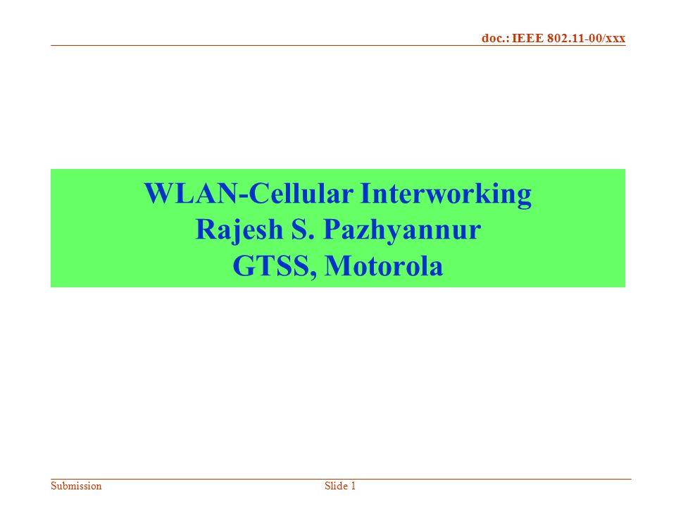 WLAN-Cellular Interworking Rajesh S. Pazhyannur GTSS, Motorola