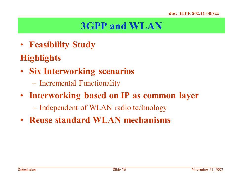 3GPP and WLAN Feasibility Study Highlights Six Interworking scenarios