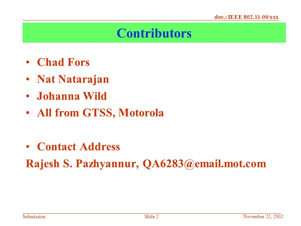 Contributors Chad Fors Nat Natarajan Johanna Wild