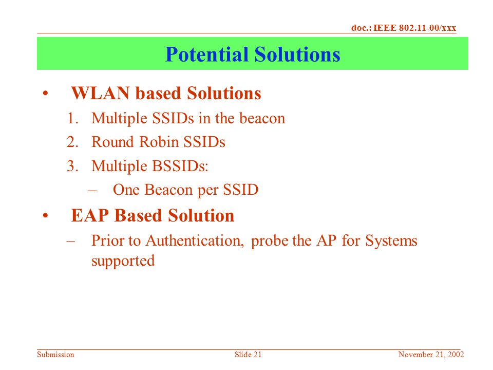 Potential Solutions WLAN based Solutions EAP Based Solution