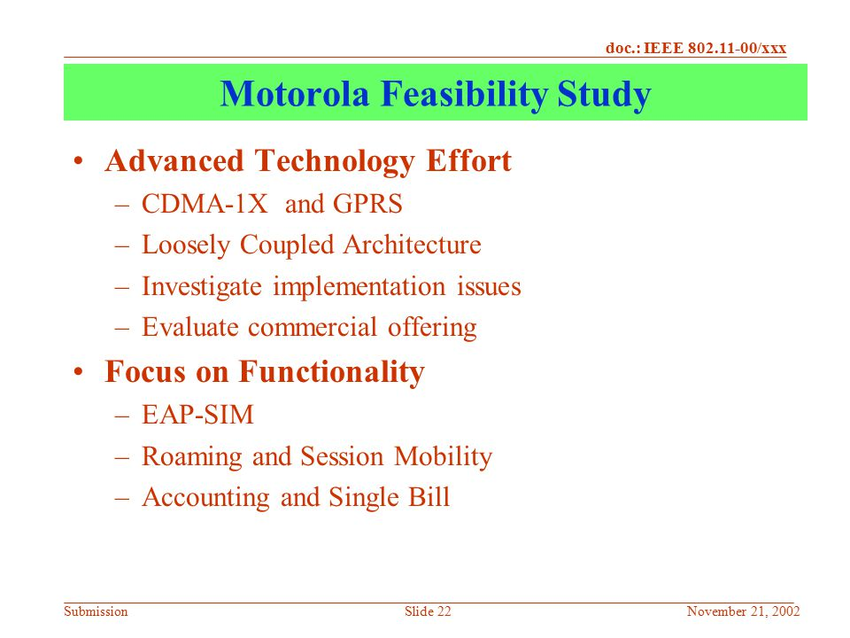 Motorola Feasibility Study