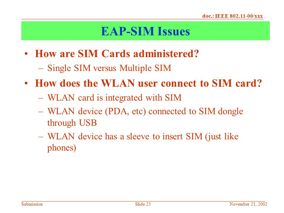 EAP-SIM Issues How are SIM Cards administered