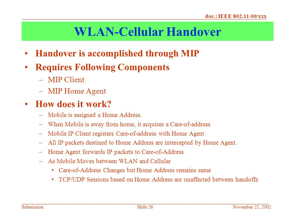 WLAN-Cellular Handover
