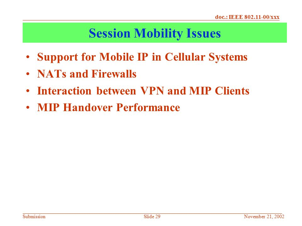 Session Mobility Issues
