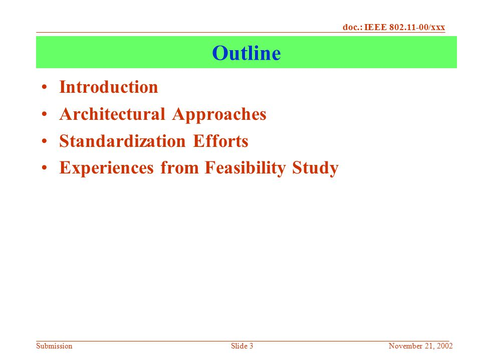 Outline Introduction Architectural Approaches Standardization Efforts