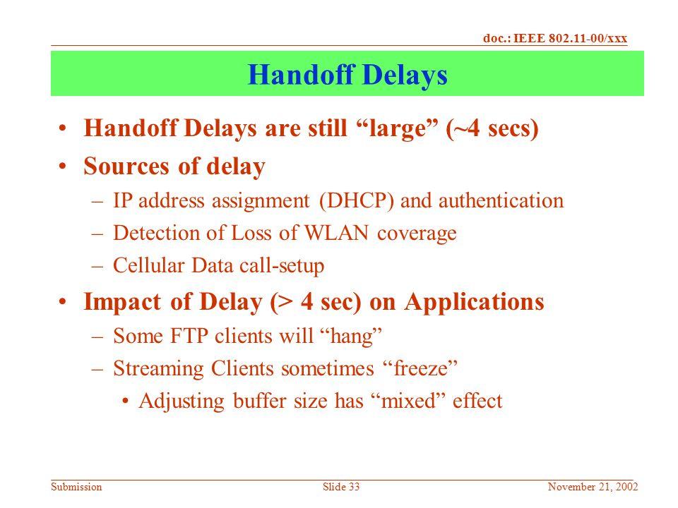 Handoff Delays Handoff Delays are still large (~4 secs)