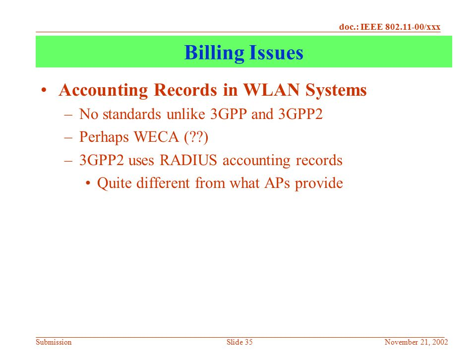 Billing Issues Accounting Records in WLAN Systems