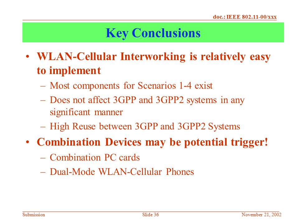 Key Conclusions WLAN-Cellular Interworking is relatively easy to implement. Most components for Scenarios 1-4 exist.