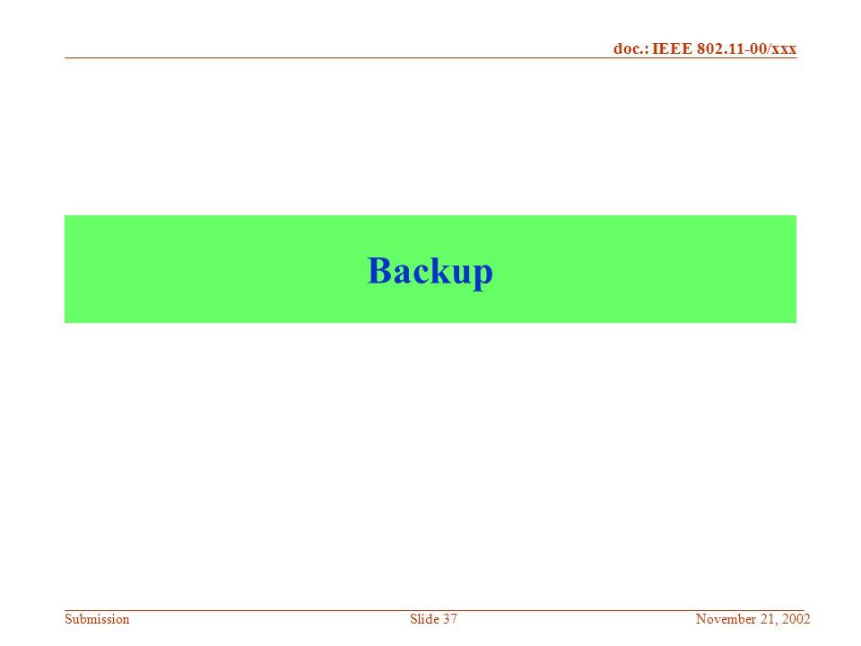 Backup November 21, 2002