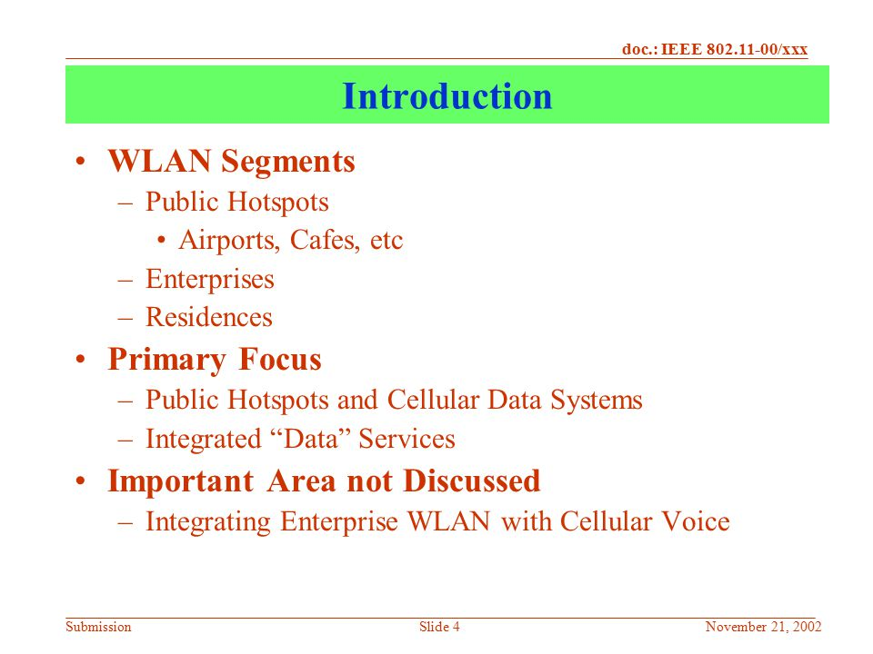 Introduction WLAN Segments Primary Focus Important Area not Discussed