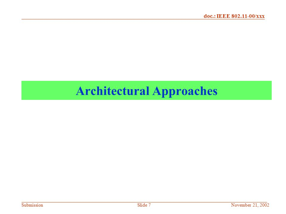 Architectural Approaches