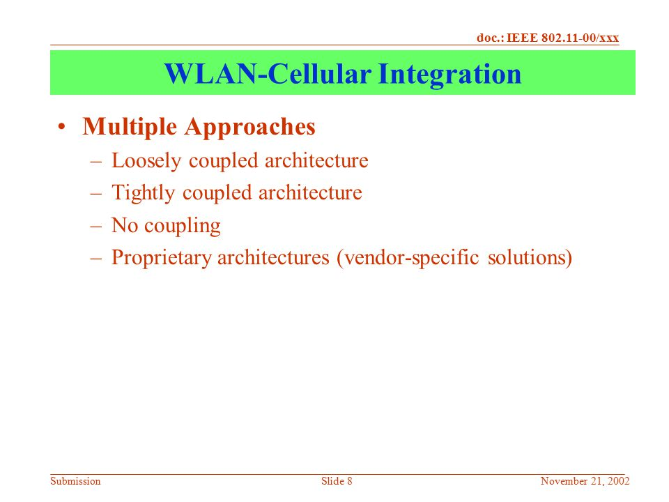 WLAN-Cellular Integration