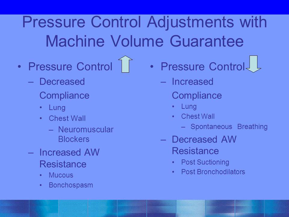 Pressure Control Adjustments with Machine Volume Guarantee