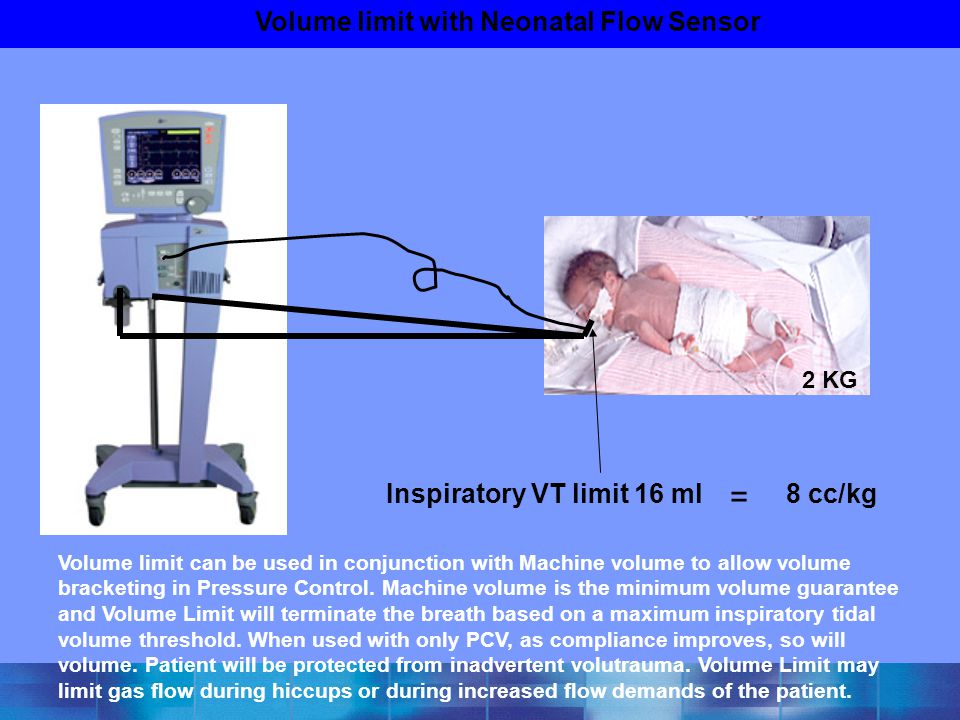 Volume limit with Neonatal Flow Sensor