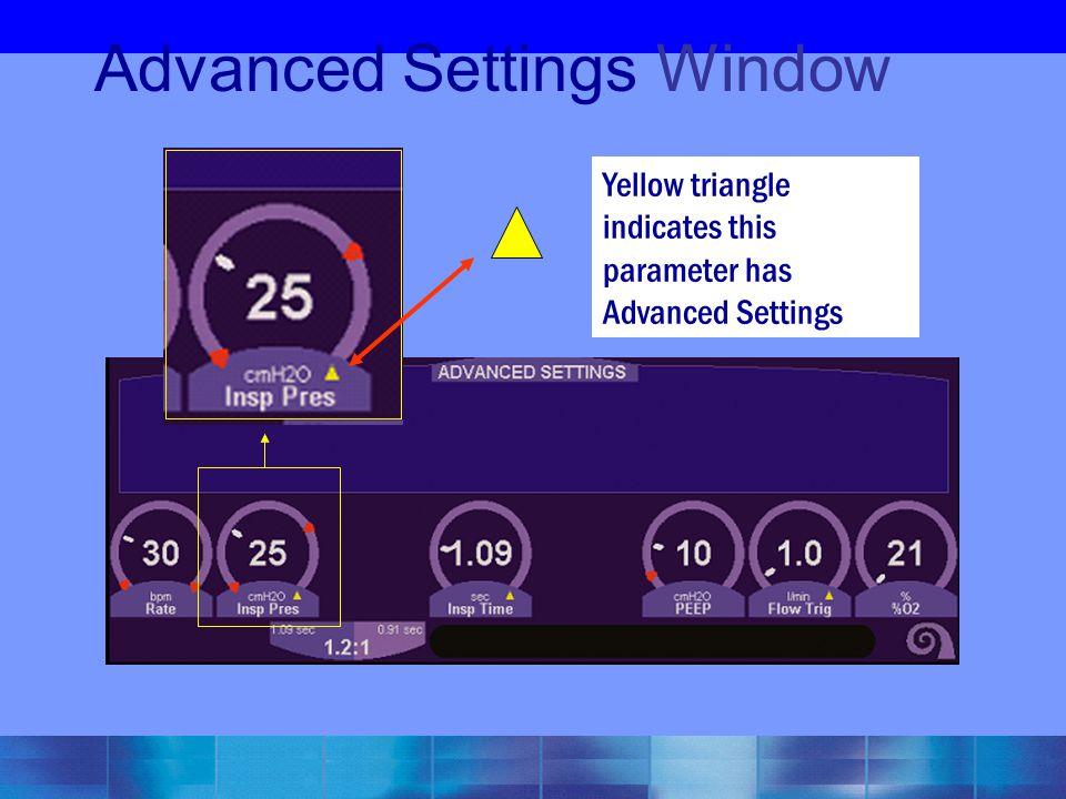 Advanced Settings Window