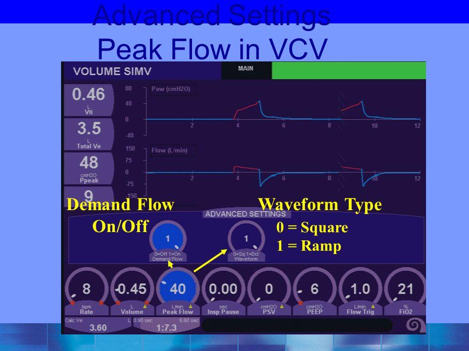 Advanced Settings Peak Flow in VCV