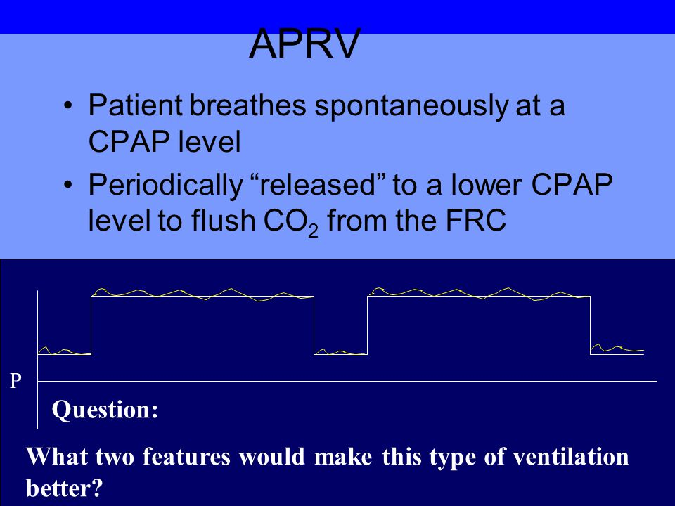 APRV Patient breathes spontaneously at a CPAP level