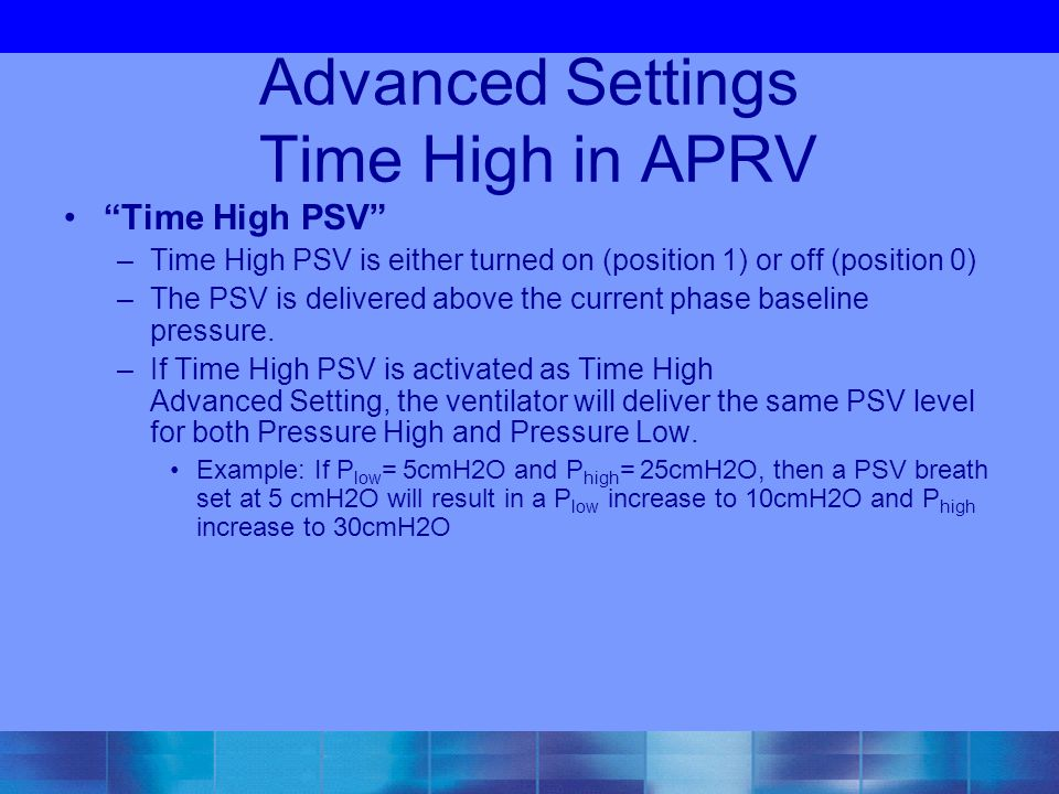 Advanced Settings Time High in APRV