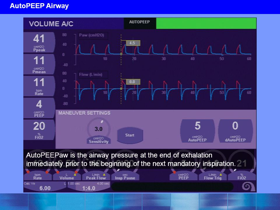 AutoPEEP Airway AutoPEEPaw is the airway pressure at the end of exhalation immediately prior to the beginning of the next mandatory inspiration.
