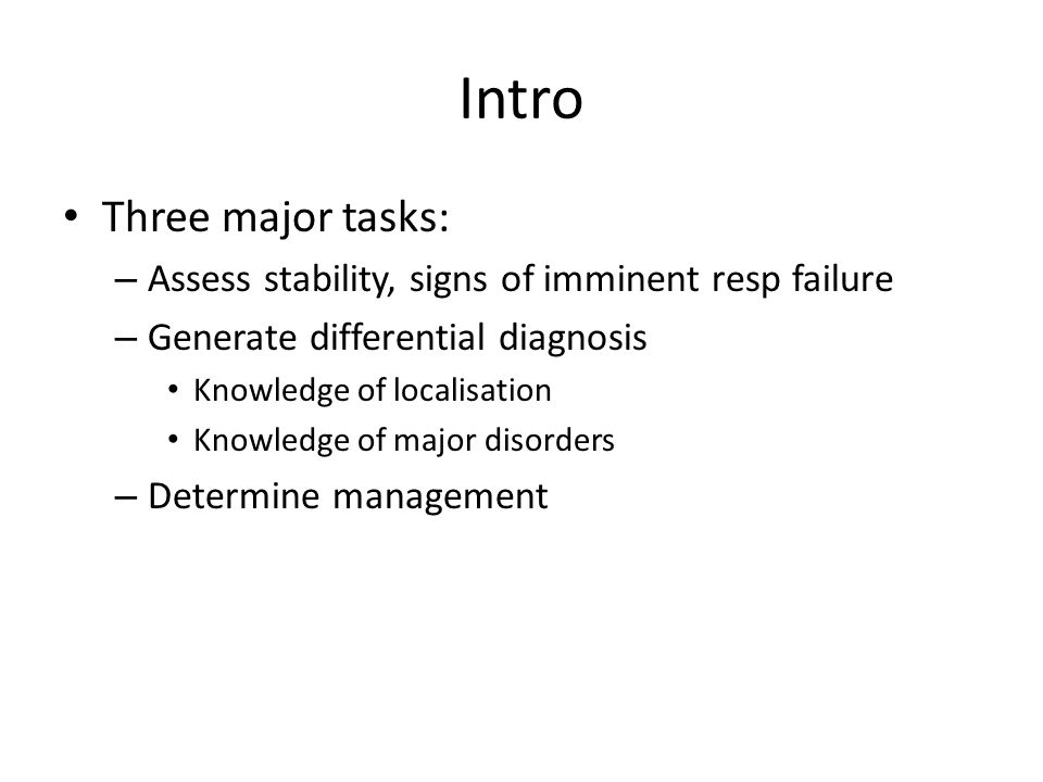 Intro Three major tasks: