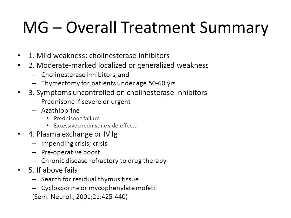 MG – Overall Treatment Summary