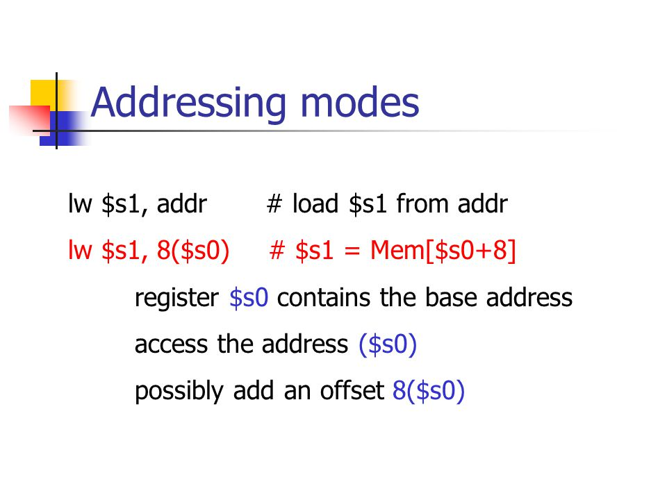 Addressing modes lw $s1, addr # load $s1 from addr