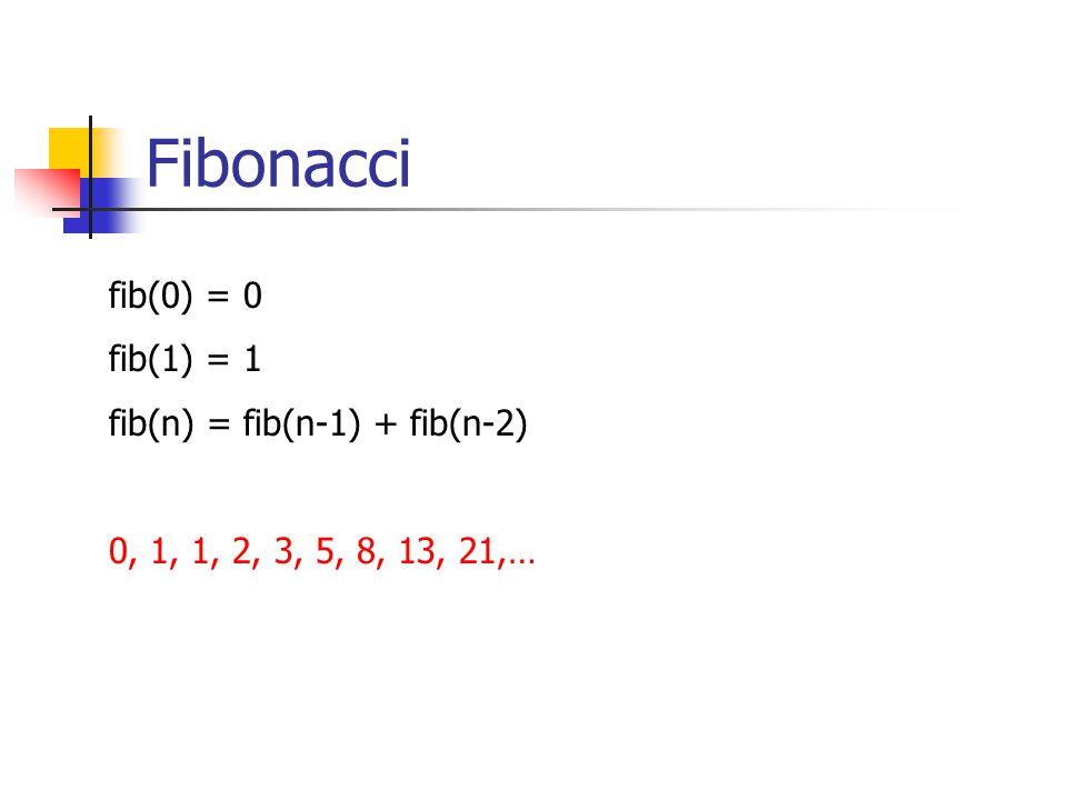Fibonacci fib(0) = 0 fib(1) = 1 fib(n) = fib(n-1) + fib(n-2)