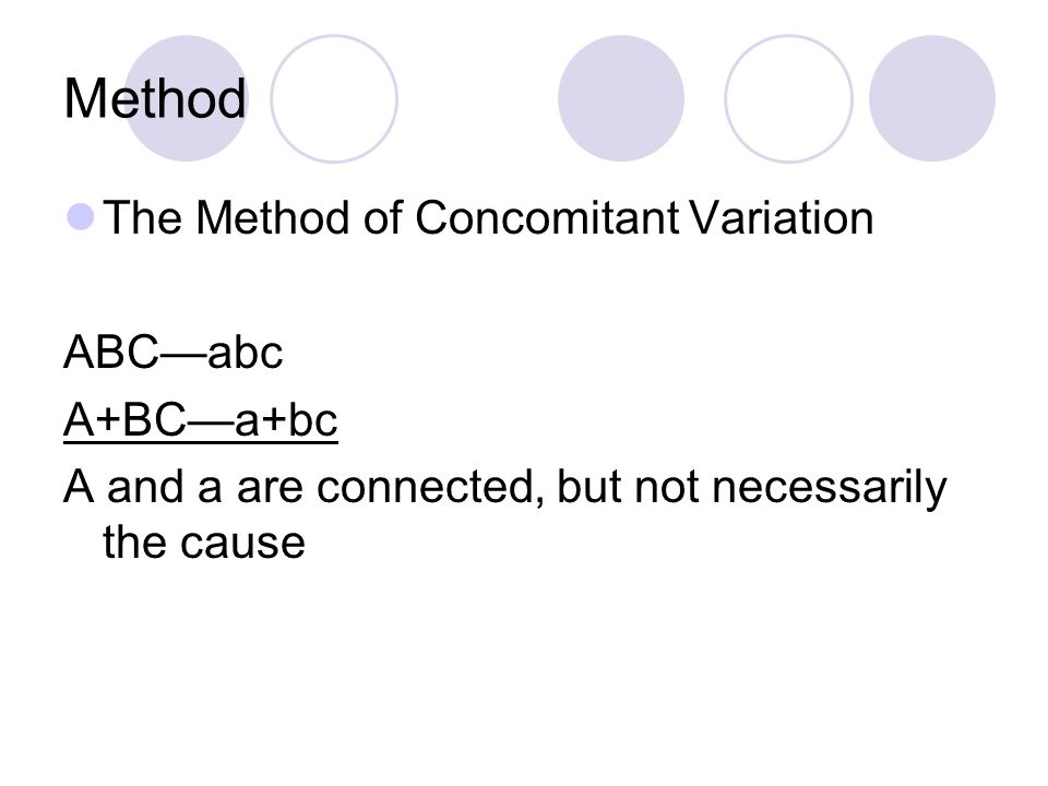 Method The Method of Concomitant Variation ABC—abc A+BC—a+bc