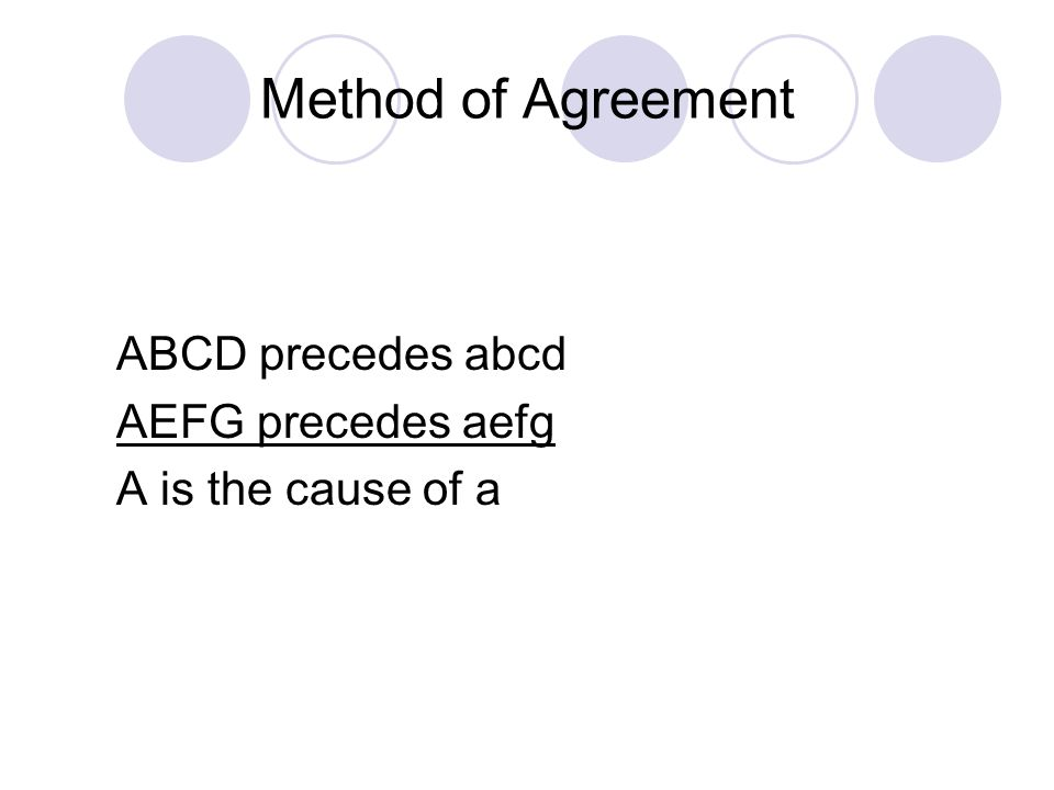 Method of Agreement ABCD precedes abcd AEFG precedes aefg