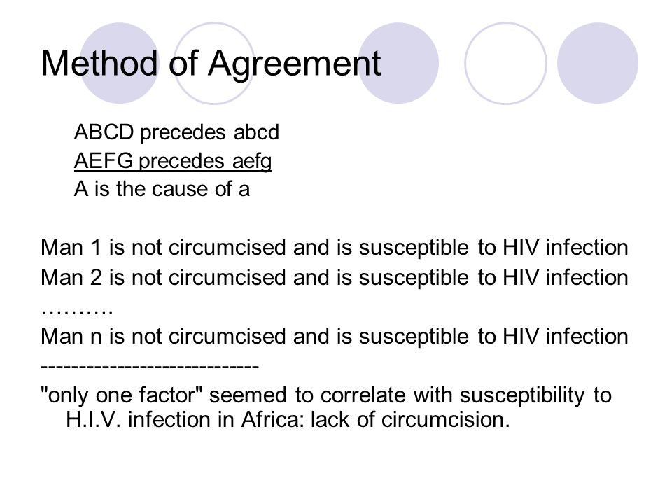 Method of Agreement ABCD precedes abcd. AEFG precedes aefg. A is the cause of a. Man 1 is not circumcised and is susceptible to HIV infection.