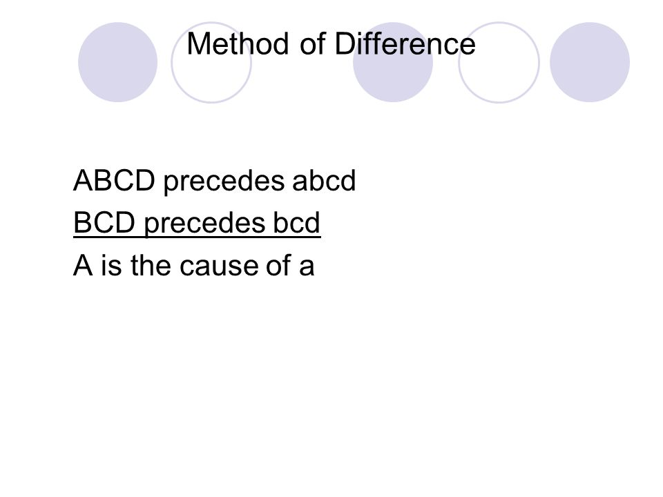 Method of Difference ABCD precedes abcd BCD precedes bcd