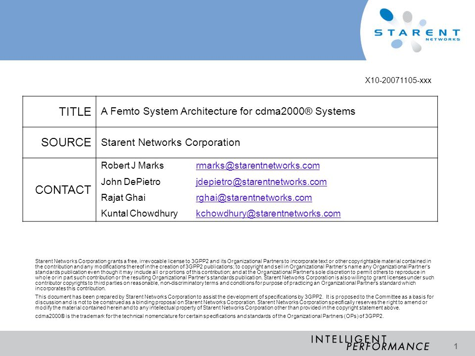 TITLE SOURCE CONTACT A Femto System Architecture for cdma2000® Systems