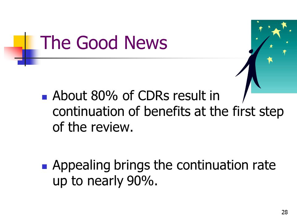 The Good News About 80% of CDRs result in continuation of benefits at the first step of the review.