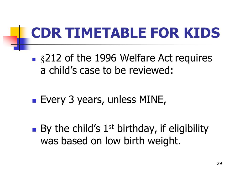 CDR TIMETABLE FOR KIDS Every 3 years, unless MINE,