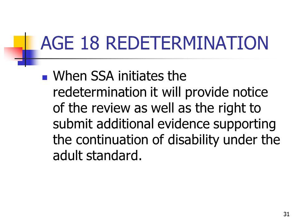 AGE 18 REDETERMINATION