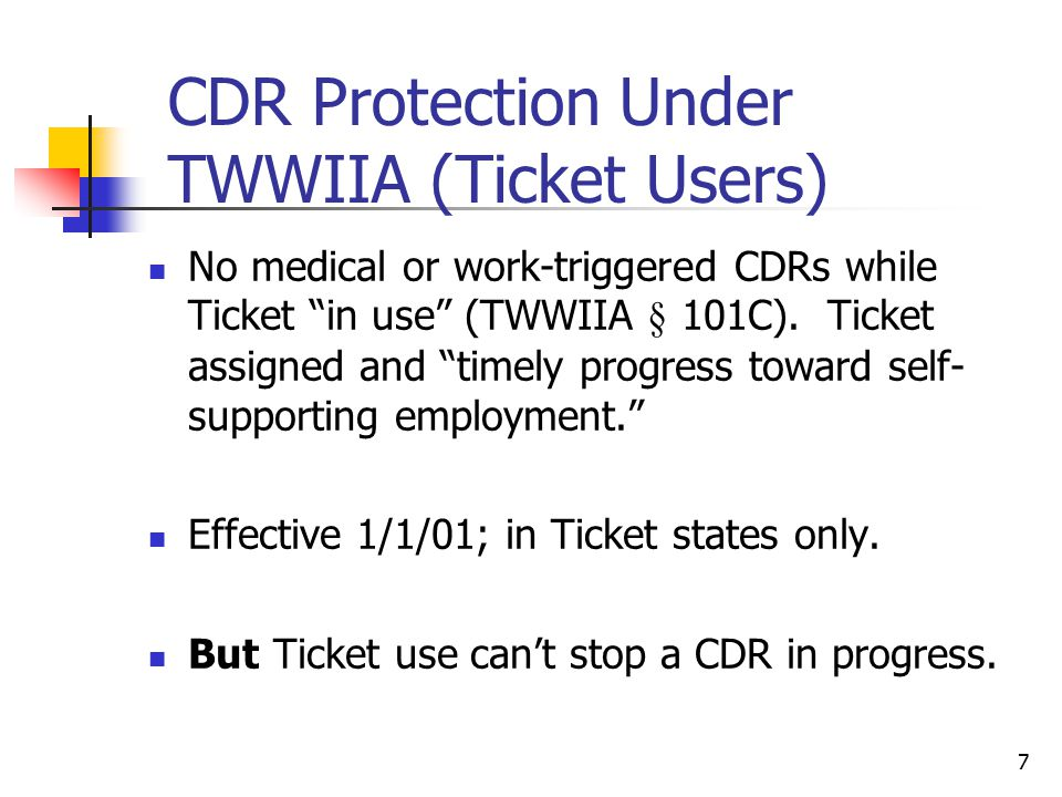 CDR Protection Under TWWIIA (Ticket Users)