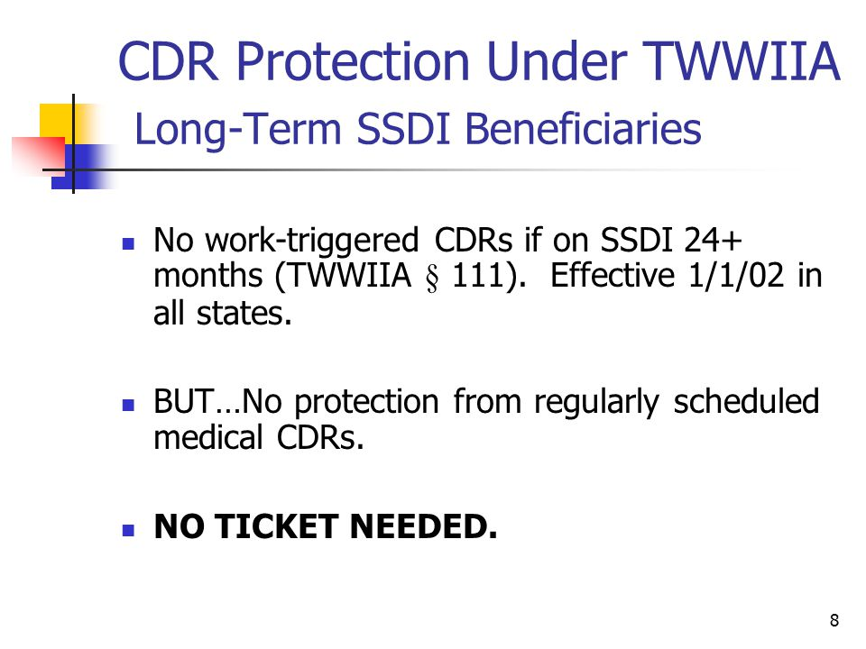 CDR Protection Under TWWIIA Long-Term SSDI Beneficiaries
