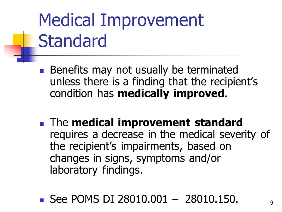 Medical Improvement Standard