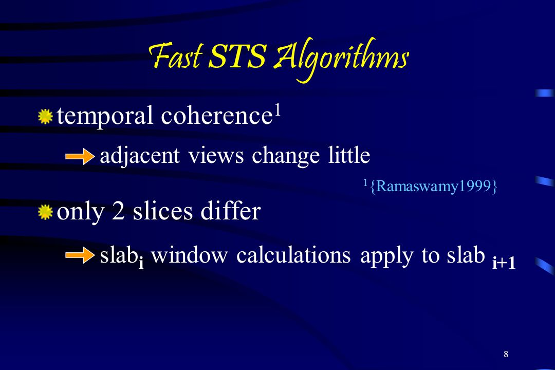 Fast STS Algorithms temporal coherence1 only 2 slices differ