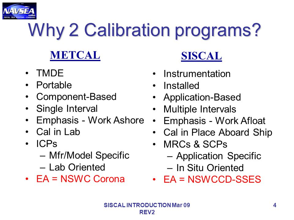 Why 2 Calibration programs