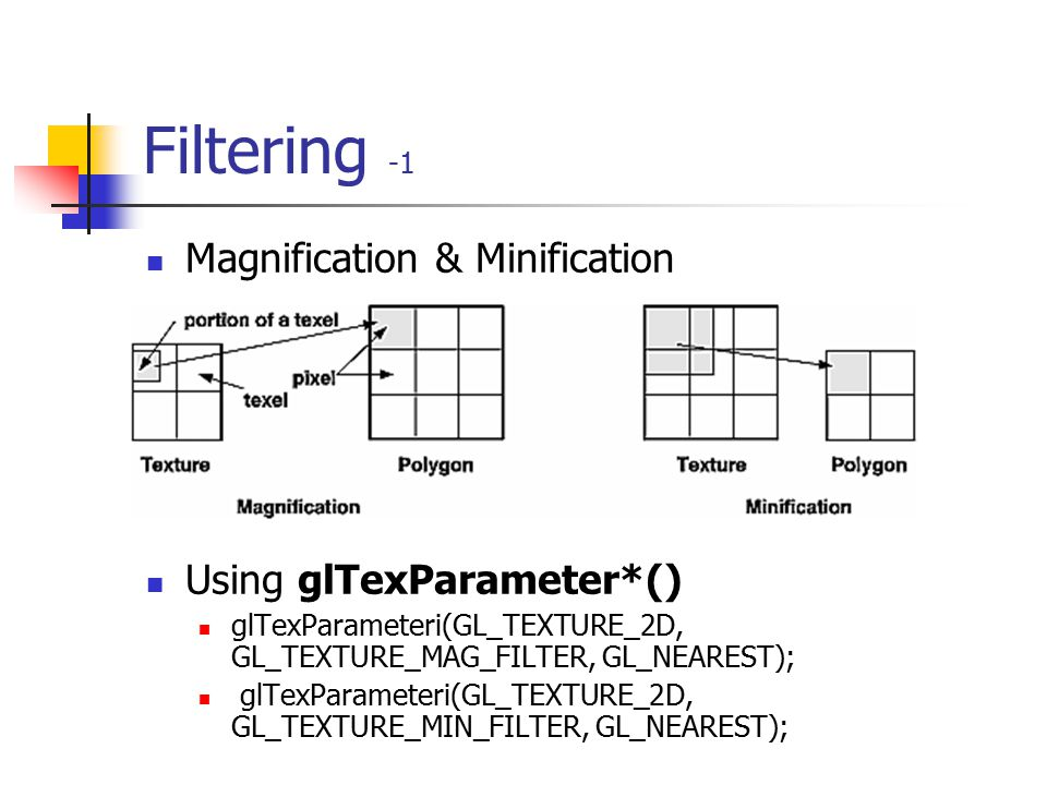 Filtering -1 Magnification & Minification Using glTexParameter*()