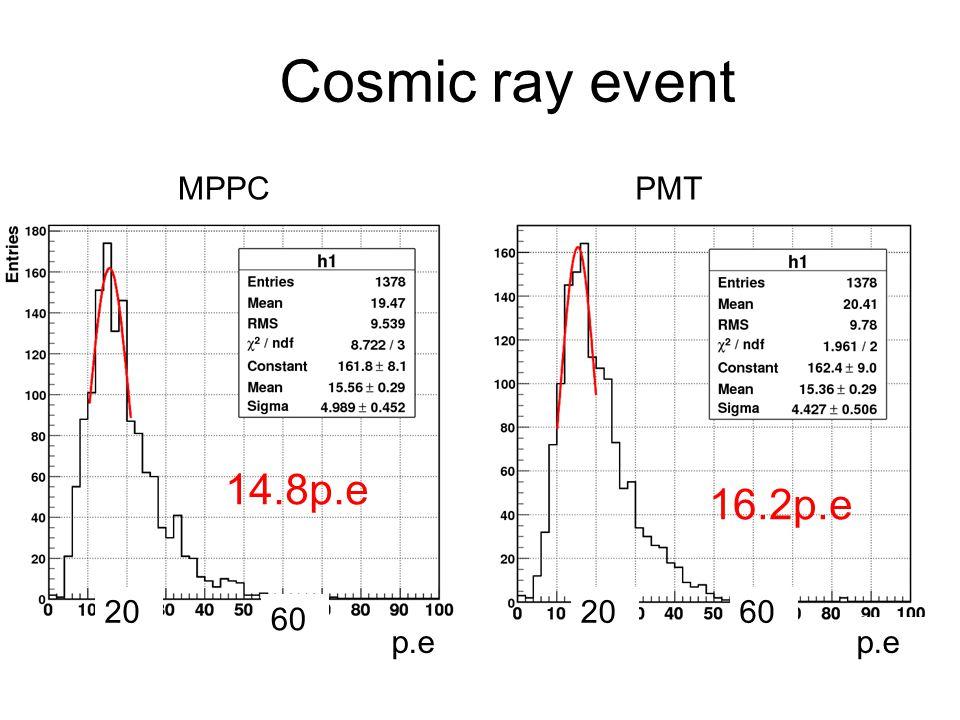 Cosmic ray event MPPC PMT 14.8p.e 16.2p.e 20 20 60 60 p.e p.e