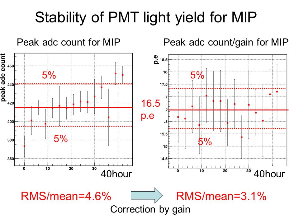 Stability of PMT light yield for MIP