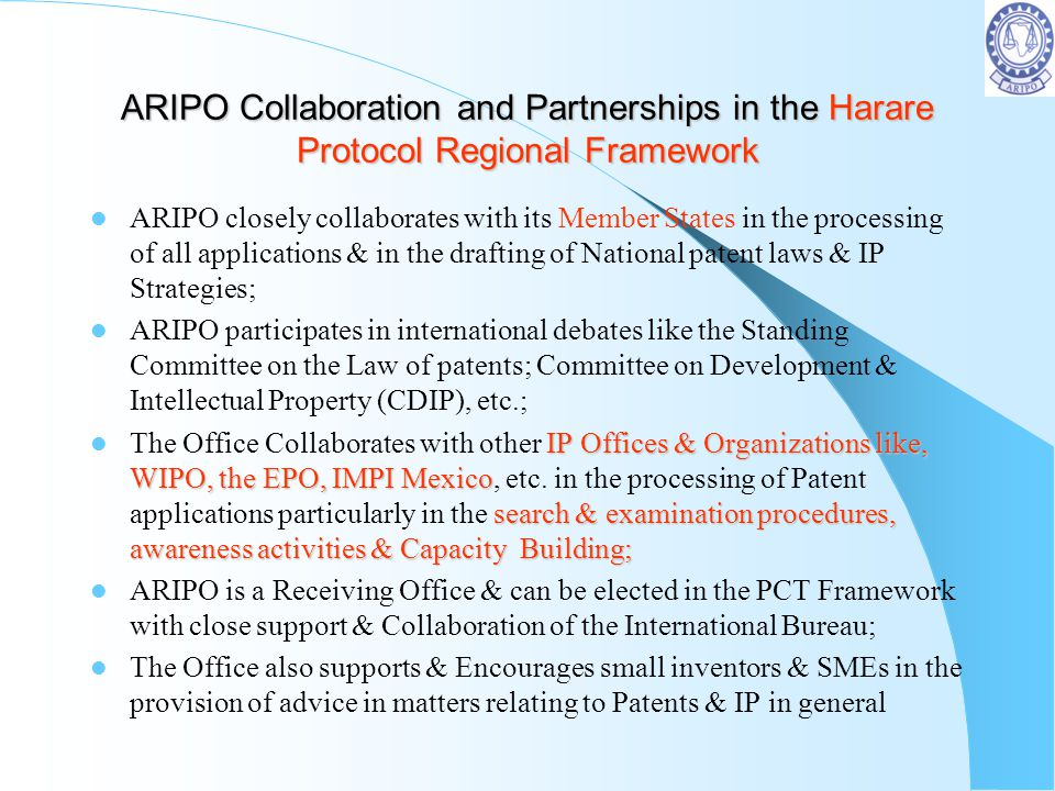 ARIPO Collaboration and Partnerships in the Harare Protocol Regional Framework
