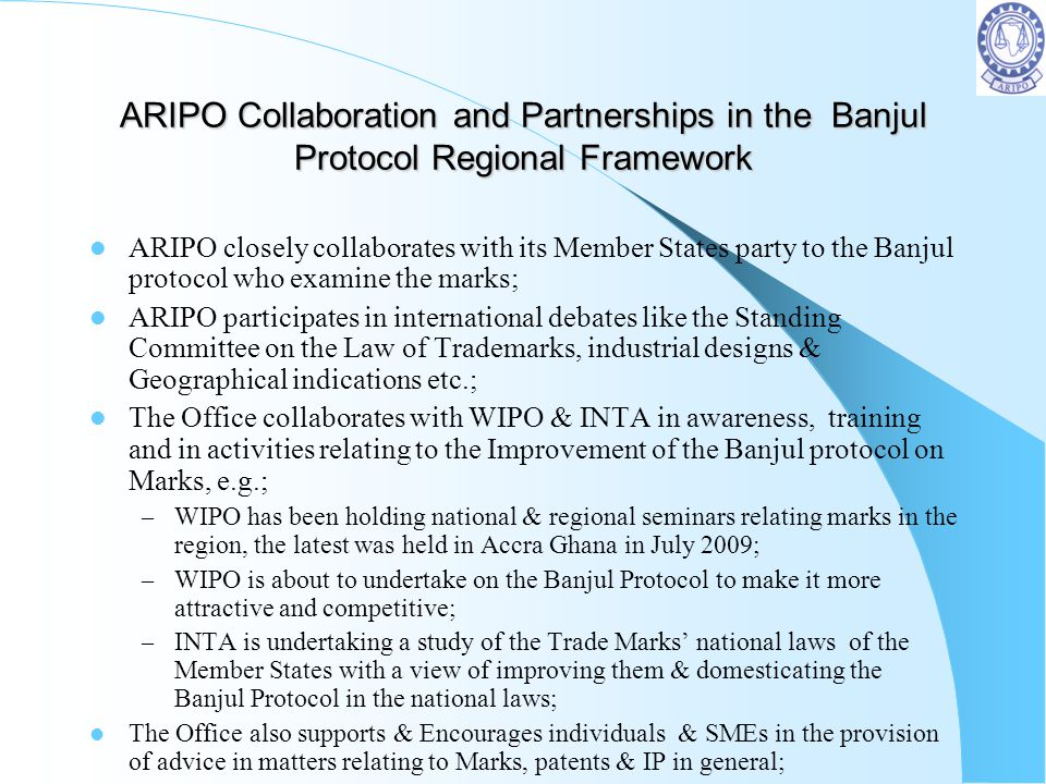 ARIPO Collaboration and Partnerships in the Banjul Protocol Regional Framework