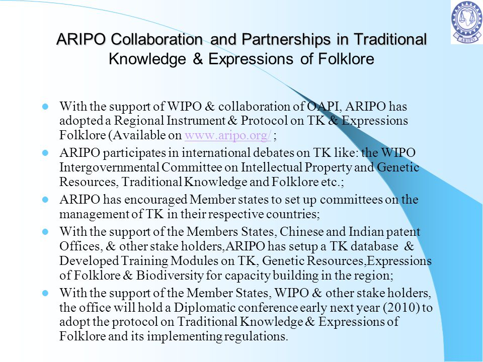 ARIPO Collaboration and Partnerships in Traditional Knowledge & Expressions of Folklore