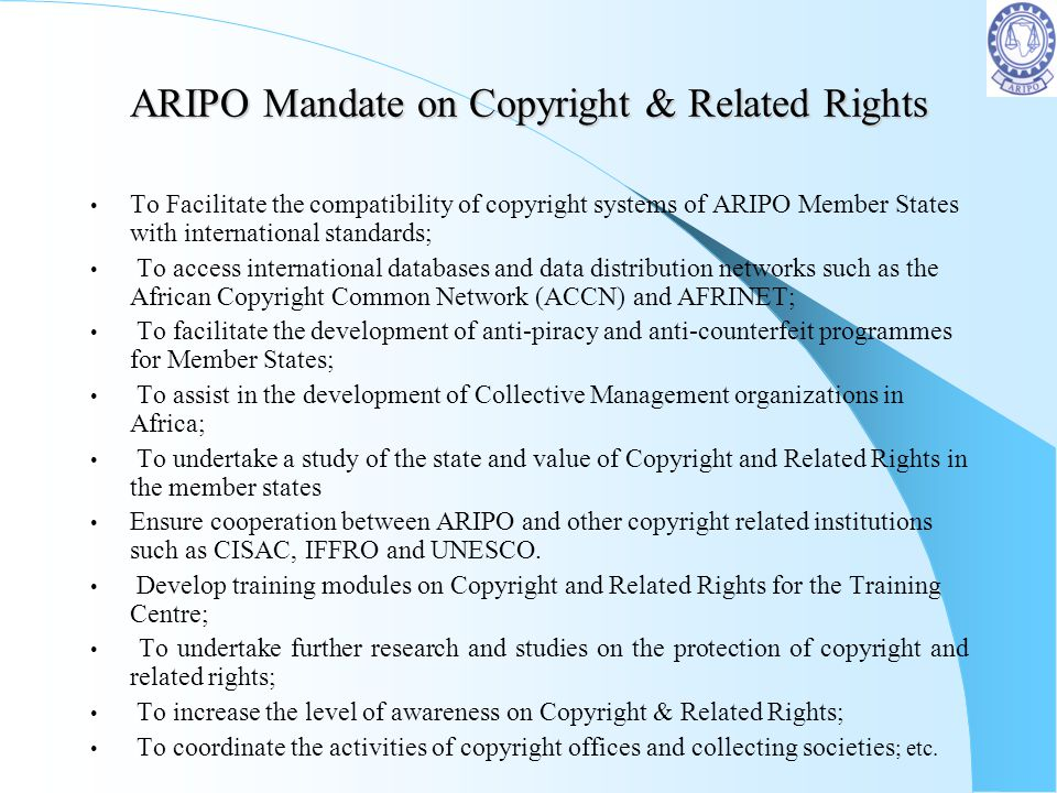 ARIPO Mandate on Copyright & Related Rights